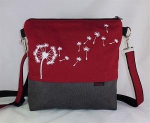 Umhängetasche rot Pusteblume, Schultertasche  - Handarbeit kaufen