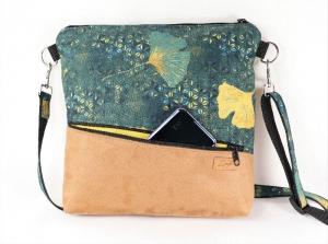Umhängetasche,  Schultertasche, Reißverschlusstasche, Ginkgo - Handarbeit kaufen