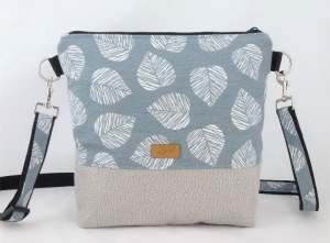 Umhängetasche Blätter, mint, grau,Schultertasche, - Handarbeit kaufen