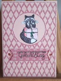 witzige Geburtstagskarte, der Kater beschützt das Geschenk - Handarbeit kaufen