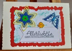 Schmetterling und Vöglein übermitteln Geburtstagsgrüße - Handarbeit kaufen