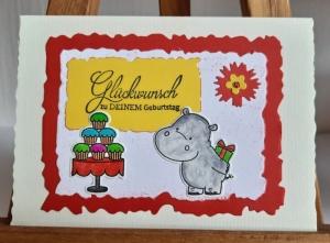 Lustige Geburtstagskarte: Nilpferd mit Geschenk freut sich auf Cupcaketorte♡ - Handarbeit kaufen