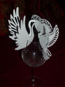 Tischkarten Hochzeit Kommunion Platzkarten Weinglastischkarte - Handarbeit kaufen