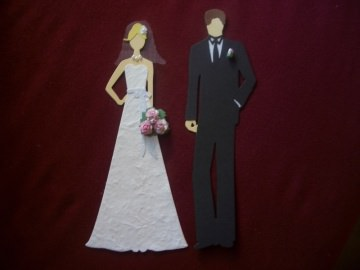 Stanzteile Kartenschmuck Kartendeko Brautpaar Hochzeit Braut Bräutigam  - Handarbeit kaufen