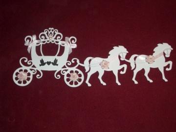 Stanzteile Kartenschmuck Kartendeko Kutsche Hochzeitskutsche Hochzeit Braut - Handarbeit kaufen