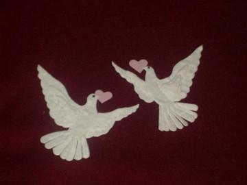 Stanzteile Kartenschmuck Kartendeko Taubenpaar Tauben Hochzeit Einladungen