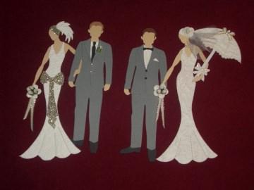 Stanzteile Charleston oder Luxus Brautpaar Hochzeit Kartenschmuck Kartendeko Braut Bräutigam