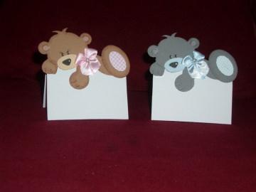 Tischkarten Platzkarten Taufe Geburt Kindergeburtstag Bär Bären  - Handarbeit kaufen