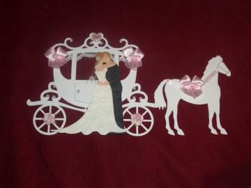 Stanzteile Kartenschmuck Kartendeko Kutsche Hochzeitskutsche Hochzeit Braut