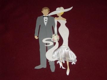 Stanzteile Brautpaar Brautleute Hochzeit Basteln Kartenschmuck Kartendekoration Hochzeitskarten Karten