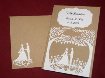 Einladungskarten Einladungen Hochzeit Rustic Vintage Einladungskarte Einladung - Handarbeit kaufen
