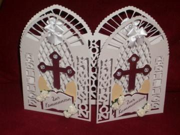 Grußkarte Grusskarte Kommunion Konfirmation Einladungskarten Einladungen Einladungskarte Einladung - Handarbeit kaufen