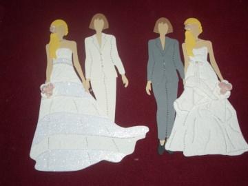 Stanzteile Lesbenbrautpaar Hochzeit Brautpaar Hochzeitspaar Kartenschmuck Kartendeko Karten basteln