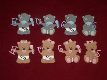 Stanzteile Bär Bären Baby Geburt Taufe Kindergeburtstag Geburtstag Grußkarten basteln Kartendeko Kartenschmuck Karten