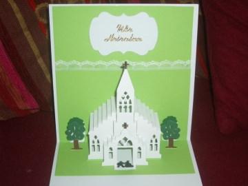 3D Pop-up Karte Grußkarte Grusskarte Hochzeit Einladungskarten Einladungen Hochzeitskarte Kirche Einladung Einladungskarte
