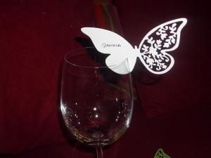 Weinglas Tischkarten Weinglastischkarten Schmetterling zur Hochzeit in allen Farben