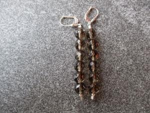Ein Paar Ohrhänger aus Silber mit facettierten Rauchquarz Perlen - Handarbeit kaufen