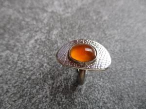 Handgefertigter Ring aus 925 Silber mit einem ca. 11x8 mm großen dunklen Citrin mit einem Freischliff  - Handarbeit kaufen