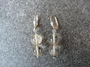 Ein Paar Ohrhänger aus 925 Silber mit je zwei 10mm Bergkristall Perlen - Handarbeit kaufen