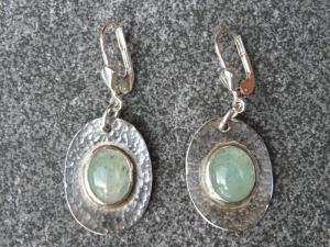 Ohrhänger aus 925 Silber in ovaler Form mit 10x8 mm Aventurin Steinen  - Handarbeit kaufen