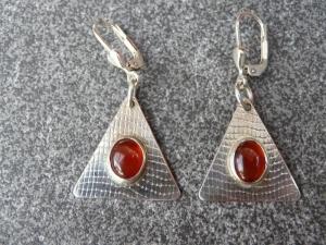 Ohrhänger aus 925 Silber in ovaler Form mit 8x6 mm Karneol Steinen  (Kopie id: 100272326)