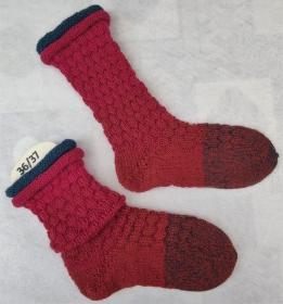 handgestrickte Socken Gr. 36-38  mit Rollrand - Handarbeit kaufen