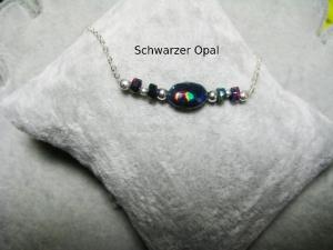 Opalkette, Opal Nugget, Opal schwarz mit wunderschönem Schimmer, echter Opal, Welo Opal, 925 Silber, minimalistisch, Edelstein - Handarbeit kaufen