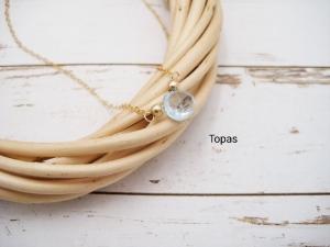 Topas-Halskette, Sky Blue Topas, Topas-Tropfen, 925 Silber, Gold Filled, Rosegold Filled, zierlich, minimalistisch, Edelstein - Handarbeit kaufen