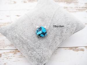Obsidian-Kette, Obsidian blau schwarz, 925 Silber, Gold Filled, Rosegold Filled, minimalistisch, Edelstein - Handarbeit kaufen