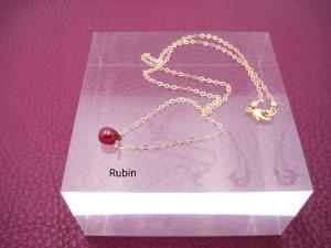 Rubin-Kette, Rubin Tropfen, Rubin glatt, Anhänger klein, 925 Silber, Gold Filled, Rosegold Filled, minimalistisch, Edelstein - Handarbeit kaufen