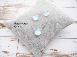 Quarz-Kette, Regenbogen-Quarz, Quarz-Herz, 925 Silber, Gold Filled, Rosegold Filled, minimalistisch, Edelstein - Handarbeit kaufen