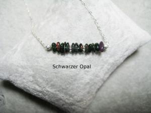 Opalkette, Opal Chips, Opal Splitter, Opal blau-schwarz, echter Opal, Welo Opal, 925 Silber, minimalistisch, Edelstein - Handarbeit kaufen