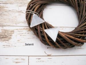 Selenit-Kette, weißer Selenit, Dreieck, natürlich, 925 Silber, Goldfilled, Boxkette, zierlich, minimalistisch, Edelstein - Handarbeit kaufen