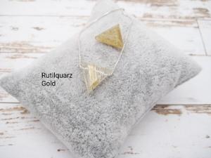 Rutilquarz-Kette, goldener Rutilquarz, Dreieck, natürlich, 925 Silber, Goldfilled, Boxkette, zierlich, minimalistisch, Edelstein - Handarbeit kaufen