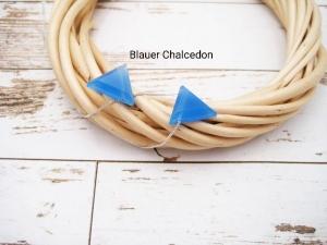Chalcedon-Kette, Blauer Chalcedon, Dreieck, natürlich, 925 Silber, Goldfilled, Boxkette, zierlich, minimalistisch, Edelstein - Handarbeit kaufen