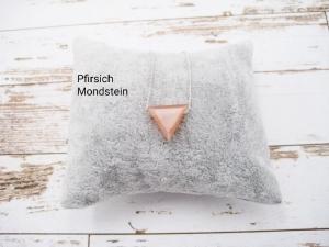 Mondstein-Kette, Pfirsich Mondstein, Peach moonstone, Dreieck, natürlich, 925 Silber, Goldfilled, Boxkette, zierlich, minimalistisch - Handarbeit kaufen
