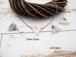 Quarz-Kette, Solar Quarz, Anhänger Dreieck, 925 Silber, Goldfilled, Boxkette, zierlich, minimalistisch, Edelstein, Geschenk für Sie - Handarbeit kaufen
