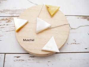 Muschel-Kette, Muschel Dreieck, weiß, gelb, natürlich, 925 Silber, Goldfilled, Boxkette, zierlich, minimalistisch, Edelstein - Handarbeit kaufen