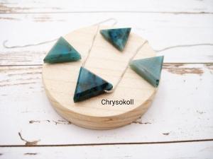Chrysokoll-Kette, Chrysokoll Dreieck, natürlich, 925 Silber, Goldfilled, Boxkette, zierlich, minimalistisch, Edelstein - Handarbeit kaufen