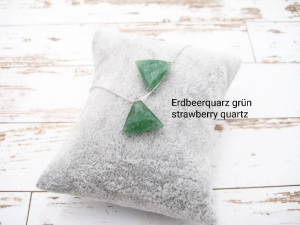 Quarz-Kette, Erdbeerquarz grün, strawberry quartz, Dreieck, natürlich, 925 Silber, Goldfilled, Boxkette, zierlich, minimalistisch, Edelstein - Handarbeit kaufen