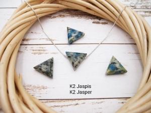 Jaspis-Kette, K2 Jaspis, Anhänger Dreieck, 925 Silber, Goldfilled, Boxkette, zierlich, minimalistisch, Edelstein, Geschenk für Sie - Handarbeit kaufen