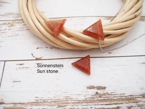 Sonnenstein-Kette, Anhänger Dreieck, 925 Silber, Goldfilled, Boxkette, zierlich, minimalistisch, Edelstein, Geschenk für Sie - Handarbeit kaufen