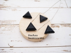 Blaufluss-Kette, sandstone blue, Anhänger Dreieck, 925 Silber, Goldfilled, Boxkette, zierlich, minimalistisch, Edelstein, Geschenk für Sie - Handarbeit kaufen