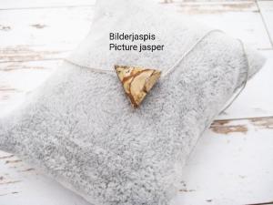 Jaspis-Kette, Bilderjaspis, Anhänger Dreieck, 925 Silber, Goldfilled, Boxkette, zierlich, minimalistisch, Edelstein, Geschenk für Sie - Handarbeit kaufen