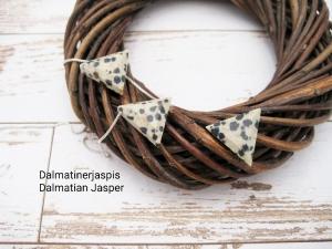 Jaspis-Kette, Dalmatiner-Jaspis, Anhänger Dreieck, 925 Silber, Goldfilled, Boxkette, zierlich, minimalistisch, Edelstein, Geschenk für Sie - Handarbeit kaufen