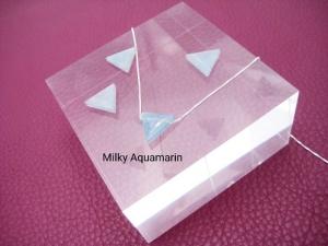 Aquamarin-Kette, Milky Aquamarin, blau, Anhänger Dreieck, 925 Silber, Goldfilled, Boxkette, zierlich, minimalistisch, Edelstein - Handarbeit kaufen