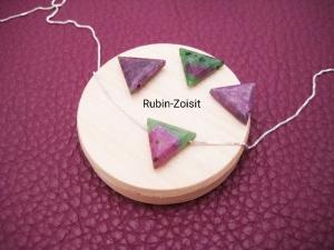 Rubin-Zoisit-Kette, Rubin Dreieck, natürlich, 925 Silber, Goldfilled, Rosegoldfilled, Boxkette, zierlich, minimalistisch, Edelstein - Handarbeit kaufen