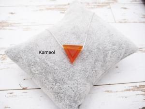 Karneol-Kette, Anhänger rot, Carnelian, Dreieck, 925 Silber, Boxkette, zierlich, minimalistisch, Edelstein - Handarbeit kaufen