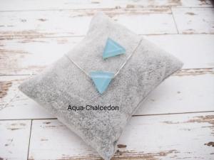 Chalcedon-Kette, Aqua Chalcedon, Dreieck, 925 Silber, Boxkette, zierlich, minimalistisch, Edelstein - Handarbeit kaufen