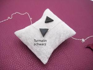 Turmalin-Kette, Turmalin Dreieck, Turmalin schwarz, natürlich, 925 Silber, Goldfilled, Boxkette, Cardanokette, zierlich, minimalistisch - Handarbeit kaufen